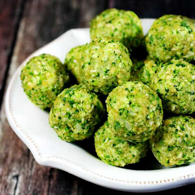 Polpette con broccoli crudi