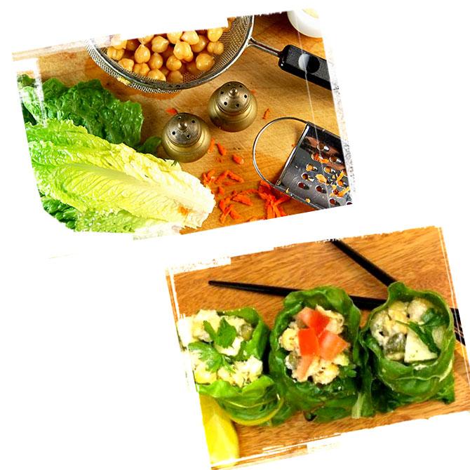 Ricetta Involtini con insalata, ceci e mele