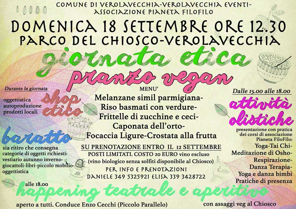 Giornata etica con pranzo vegan 18 settembre 2016