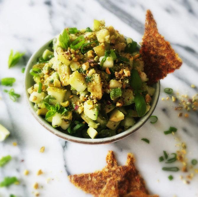 Ricetta salsa avocado e pere con pistacchio